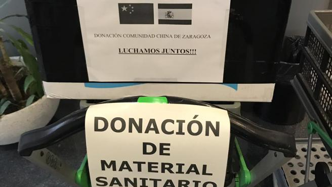 Donación de material sanitario por parte de la comunidad china.
