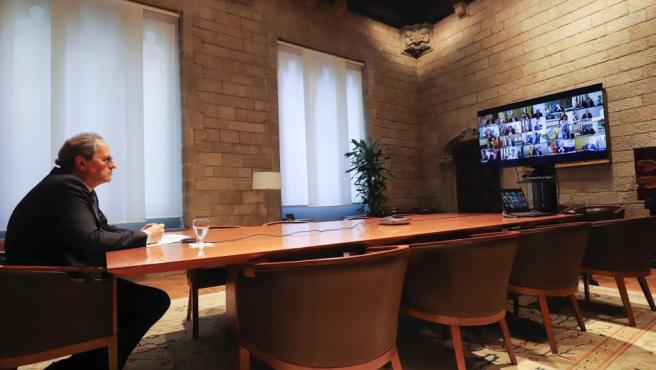 El presidente de la Generalitat, Quim Torra, en el Consell Exacutiu extraordinario