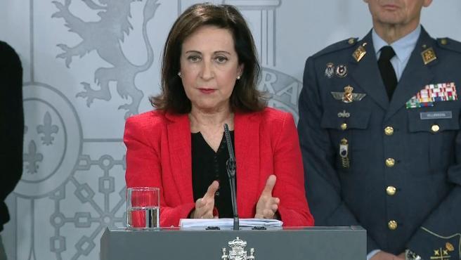 Margarita Robles, ministra de Defensa, en rueda de prensa este domingo.