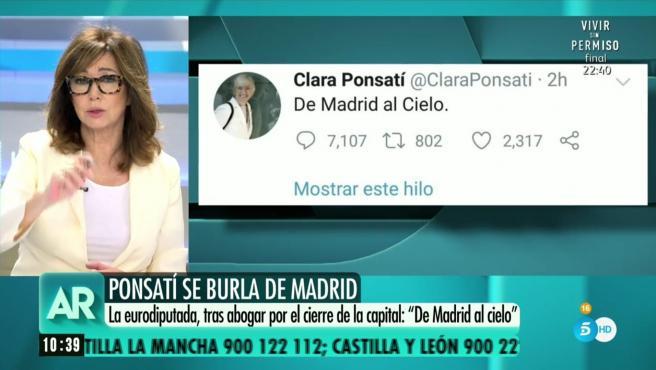 Reacción de la activista, Clara Ponsatí, ante la crisis sanitaria por COVID-19.