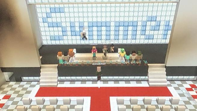 Una captura de la graduación de escolares japoneses en 'Minecraft'.