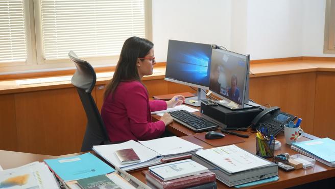 La consejera de Turismo, Industria y Comercio del Gobierno de Canarias, Yaiza Castilla, en videconferencia con los industriales