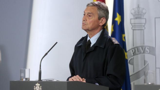 El general del Ejército del Aire Miguel Ángel Villarroya, durante una rueda de prensa tras una reunión del Gabinete del Seguimiento del Estado de Alarma por el coronavirus, en Madrid (España) a 16 de marzo de 2020.