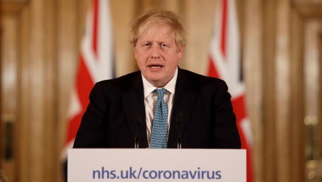 El primer ministro británico, Boris Johnson, durante una rueda de prensa.