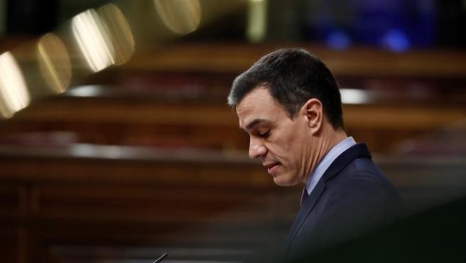El presidente del Gobierno, Pedro Sánchez, durante su comparecencia este miércoles en el Congreso de los Diputados (archivo)