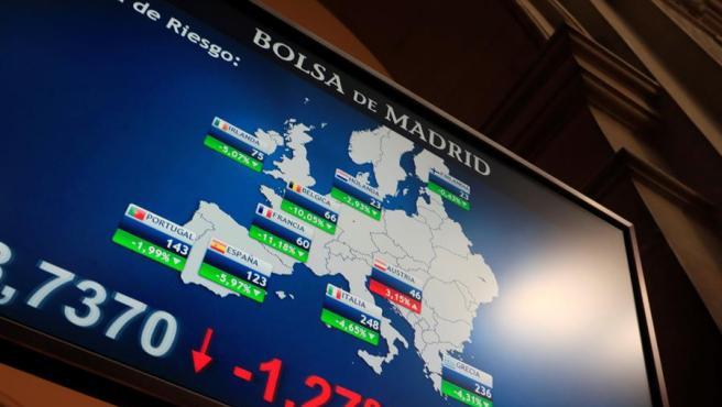 Un panel informativo en la Bolsa de Madrid refleja caídas en diferentes países europeos por la crisis del coronavirus.