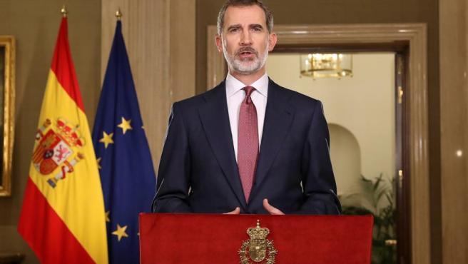 El rey Felipe VI, durante su mensaje televisado sobre la crisis del coronavirus.