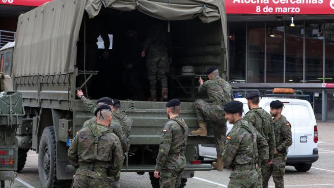 Militares españoles movilizados tras decretarse el estado de alarma a raíz de la crisis del coronavirus.