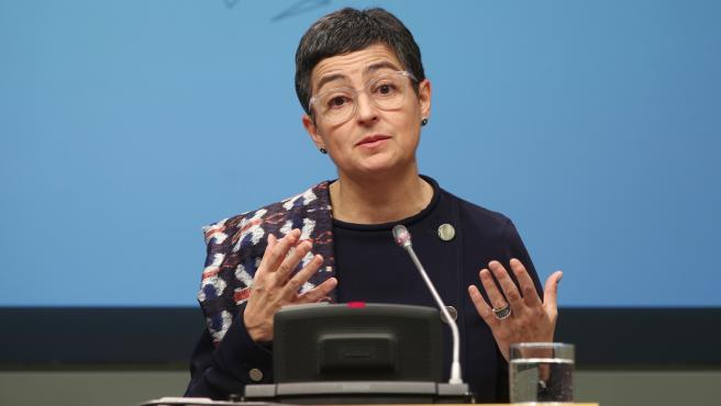 La ministra de Asuntos Exteriores, Unión Europea y Cooperación, Arancha González Laya en rueda de prensa en el Palacio de Viana, en Madrid (España), a 9 de marzo de 2020.
