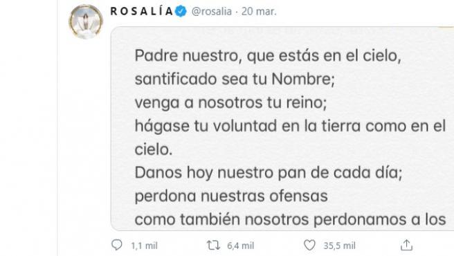 Rosalía reza a través de las redes sociales por el coronavirus.
