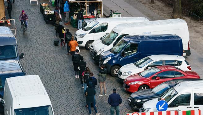 Imagen de un mercado callejero en Berlín en plena crisis del coronavirus.