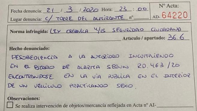 Denuncia de la Policía Local de Algeciras a una pareja por practicar sexo en el coche en Estado de Alarma