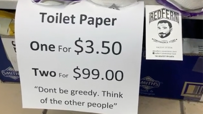 Cartel para evitar la compra indiscriminada de papel higiénico.