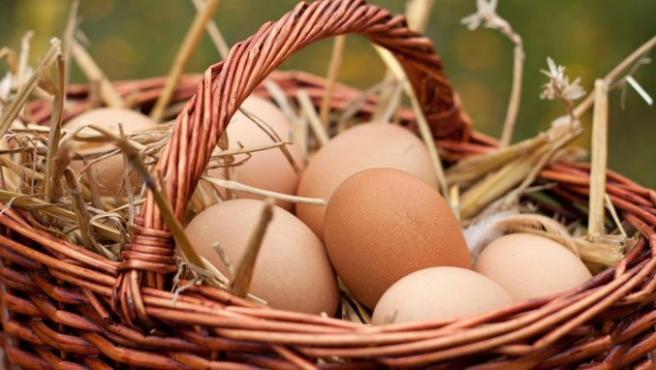 Imagen de recurso de una cesta con huevos crudos.