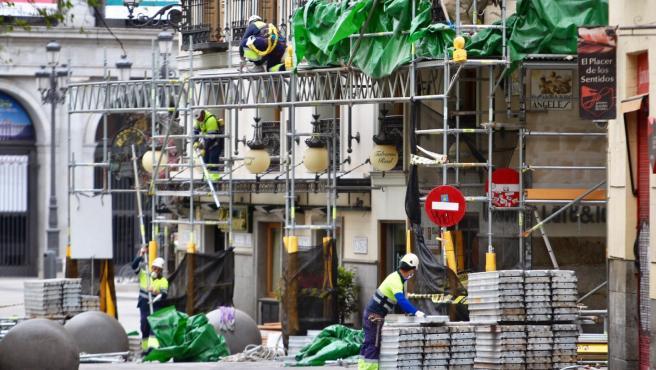 Obreros de la construcción en Madrid.