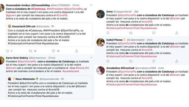 Mensajes idénticos de apoyo a Quim Torra publicados por diferentes cuentas.