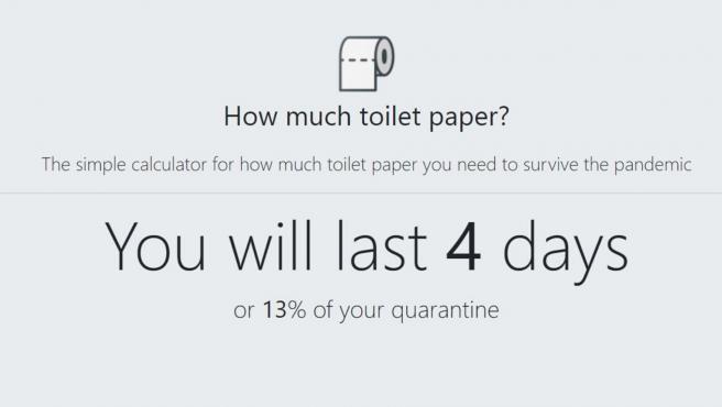 Con un rollo y tres visitas al baño al día, sobrevivirás cuatro días.