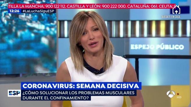 Susanna Griso habla en 'Espejo Público' sobre las molestias musculares.