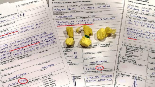 Imagen de las tres denuncias impuestas a la octogenaria detenida en Villafranca (Navarra).
