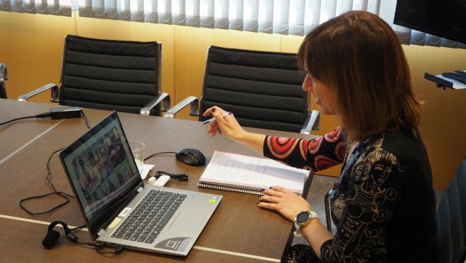 La consejera de Hacienda, Ana Cárcaba, que hoy ha participado en la reunión telemática que ha mantenido la ministra de Hacienda, María Jesús Montero