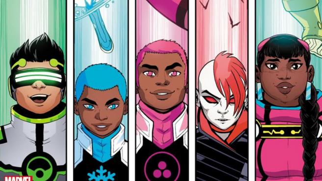 Los nuevos New Warriors: Screentime, Snowflake, Safespace, B-Negative y Trailblazer.