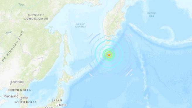 Localización del epicentro del terremoto registrado en las islas Kuriles, Rusia.