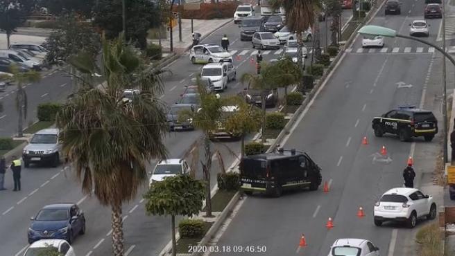 Controles de la Policía Local de Málaga ante el estado de alarma por coranavirus