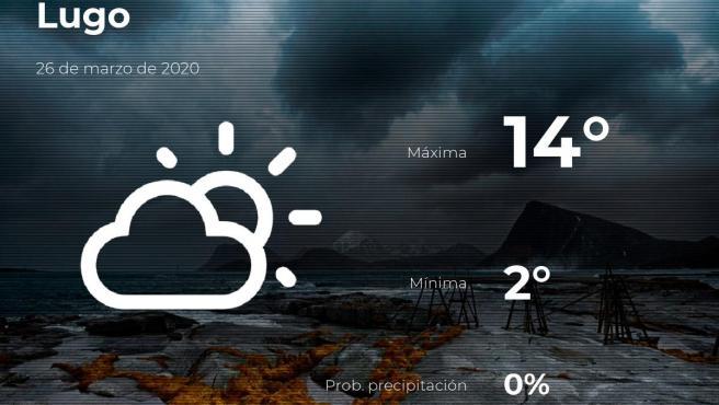 El tiempo en Lugo: previsión para hoy jueves 26 de marzo de 2020