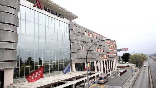 Fachada del Hotel Marriott Auditorium, en el kilómetro 12 de la A-2, uno de los hoteles medicalizados en Madrid.