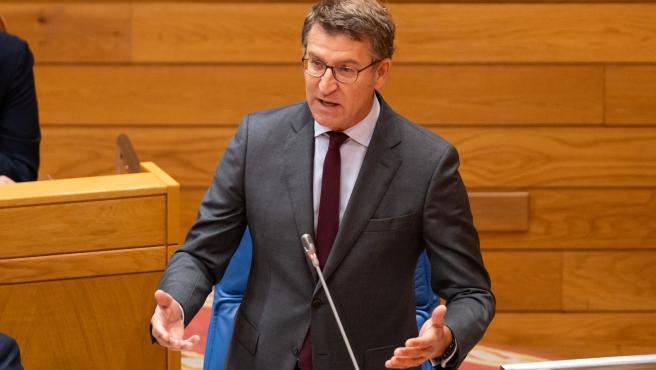 O presidente da Xunta, Alberto Núñez Feijóo, responde as preguntas dos grupos no Pleno da Cámara., 26 do 06 de 19.