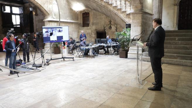 El presidente valenciano, Ximo Puig, en la rueda de prensa telemática de este jueves.