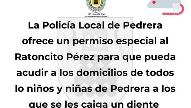 Comunicado de la Policía Local de Pedrera sobre el Ratón Pérez.