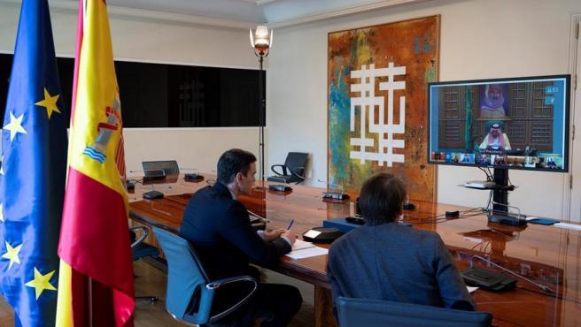Pedro Sánchez durante la reunión telemática del G-20