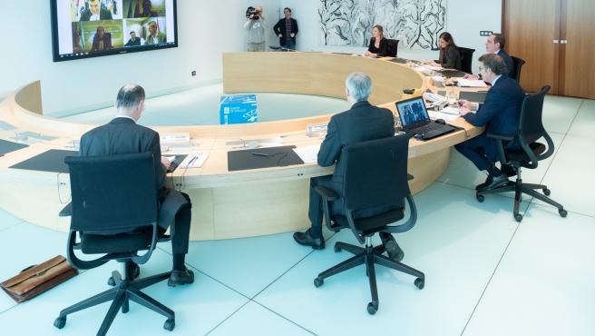 O titular do Goberno galego, Alberto Núñez Feijóo, preside a reunión do Consello da Xunta. San Caetano, Santiago de Compostela, 27/03/20.