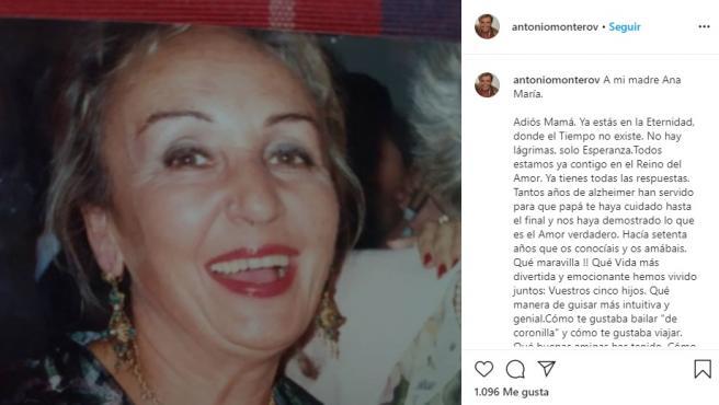 Antonio Montero despidiéndose de su madre.