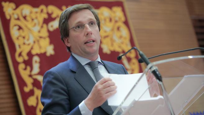 El alcalde de Madrid durante una rueda de prensa.