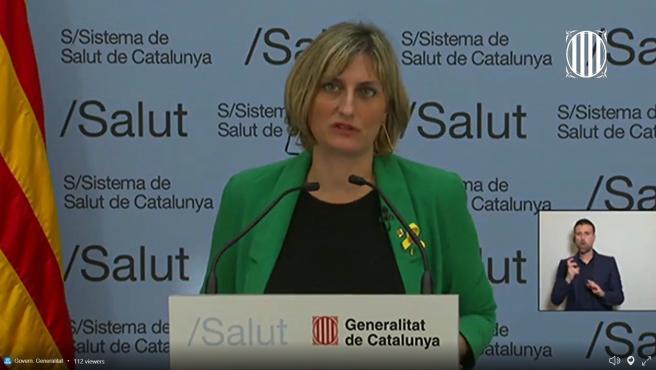 La consellera de Salud de la Generalitat, Alba Vergés, en rueda de prensa telemática sobre coronavirus el 28/3/2020