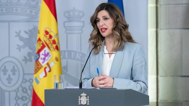 La ministra de Trabajo, Yolanda Díaz, en rueda de prensa este viernes.