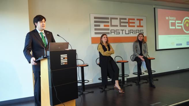 El consejero de Ciencia, Innovación y Universidad, Borja Sánchez; la directora del CEEI, Cristina Fanjul, y la directora del Idepa y presidenta del CEEI, Eva Pando.