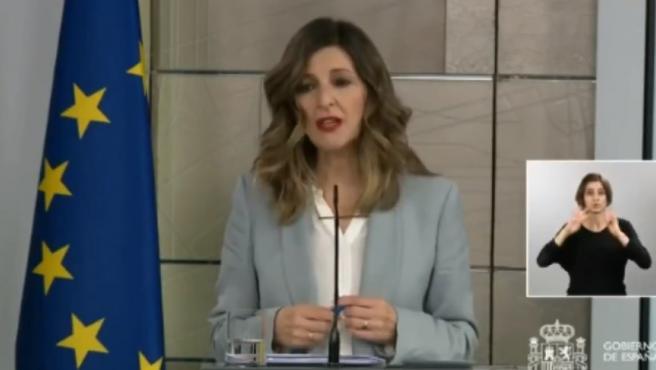 Rueda de prensa de la ministra de Trabajo, Yolanda Díaz, Tras el Consejo de Ministros extraordinario