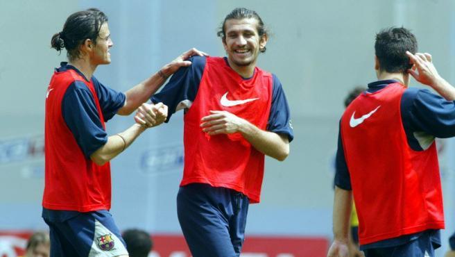 Rustu y Luis Enrique, durante un entrenamiento del Barcelona