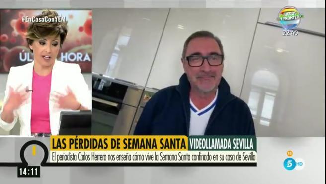 El presentador Carlos Herrera hace un vídeollamada al programa 'Ya es mediodía'.