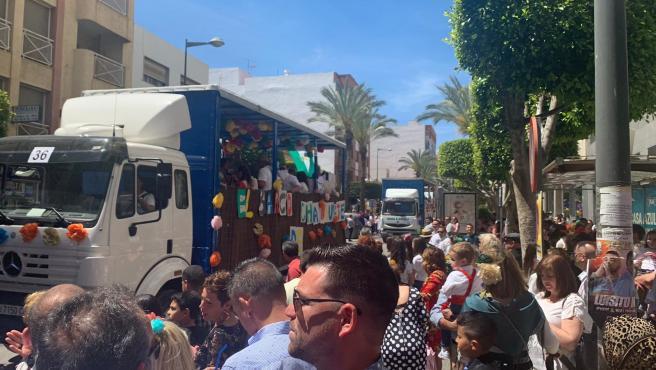 Desfile de carrozas en las Fiestas de San Marcos en El Ejido (Almería)
