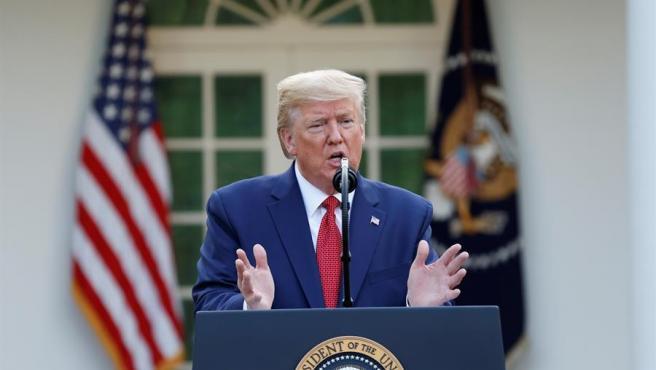 El presidente de EE UU, Donald Trump, en la Casa Blanca, durante su rueda de prensa diaria sobre la crisis del coronavirus.