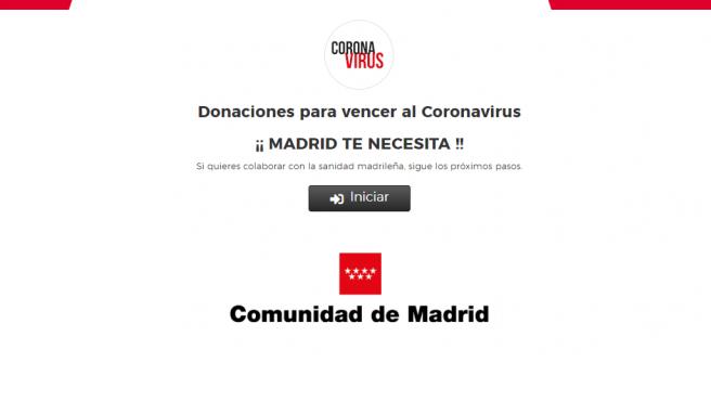 Página principal del portal que ha habilitado la Comunidad de Madrid para recibir donaciones.