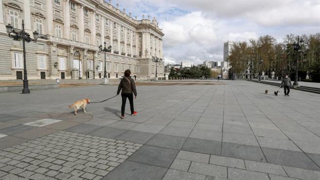 Una mujer pasea a su perro frente al Palacio Real de Madrid.