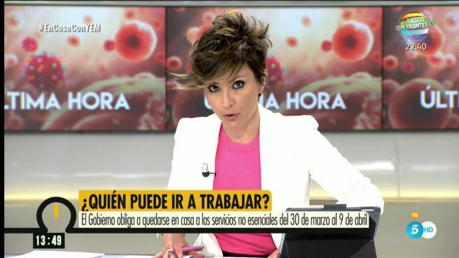 Sonsoles Ónega, presentadora del programa 'Ya es mediodía'.