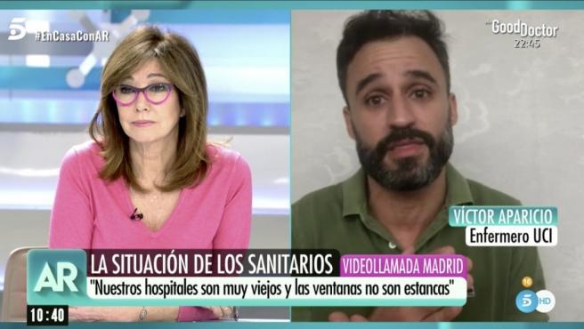 Ana Rosa entrevista a un enfermero del Hospital Gregorio Marañón de Madrid.