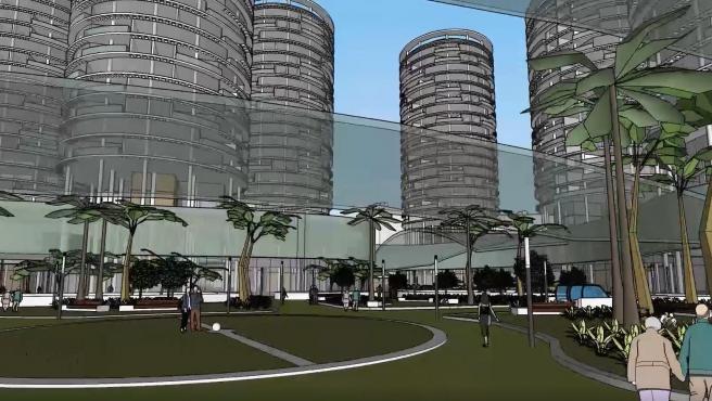 Vista del projecte d'ADU Mediterrani 'Residencial séquia de Mestalla' proposat per als terrenys del camp de Mestalla a València.