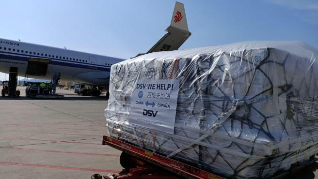 El vuelo aterrizado en Barcelona con material sanitario.